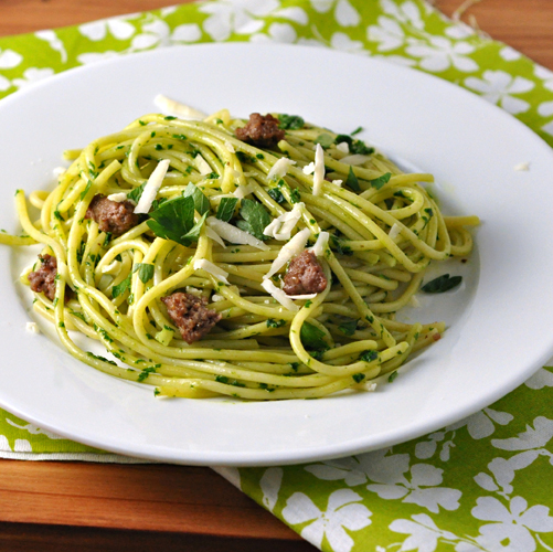 Spaghetti with Parsley Pesto & Sausage
