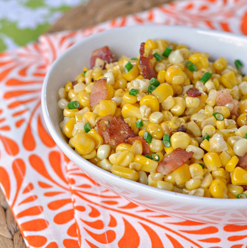 Fresh Corn Sauté with Bacon and Chives ~ An easy side dish that is put together in mere minutes ~ The Way to His Heart #CLBlogger #HenHouseLinens