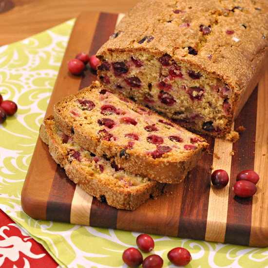 Cranberry Bread ~ The Way to His Heart ~ A perfect quick bread for breakfast or an afternoon snack. Studded with cranberries, it's quite festive and works well for the holidays