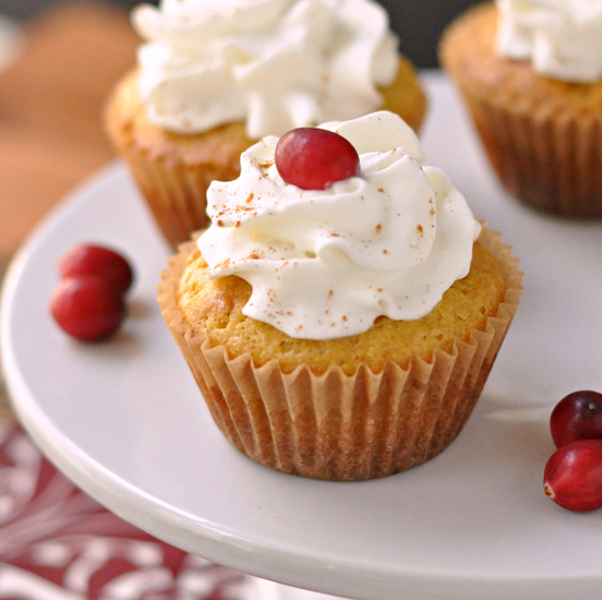 Vanilla Cupcakes with Cranberry Filling and Whipped Cream Frosting~ The Way to His Heart ~ A wonderful flavor combination that is healthier for you and makes for a beautiful dessert