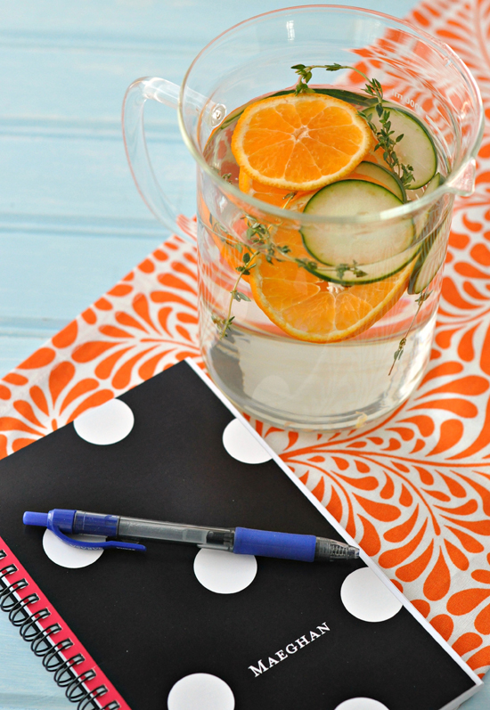 Cucumber, Thyme, and Tangerine Infused Water ~ Cool and refreshing way to add flavor to your water ~ The Way to His Heart #CLBlogger #HenHouseLinens
