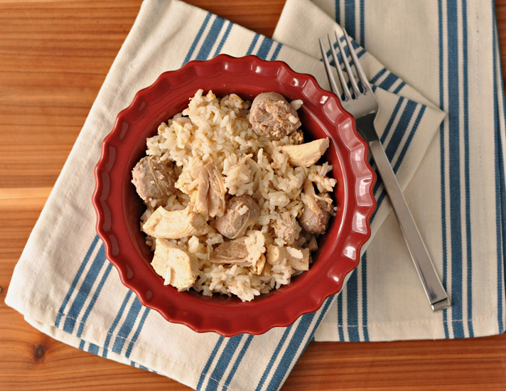 """Chicken Pilau """"Perlo"""" ~ A quintessential low country South Carolina dish. Chicken, rice, and sausage and a few pantry ingredients. There's a reason this simple, one pot dish has comforted families for ages! ~ The Way to His Heart"""