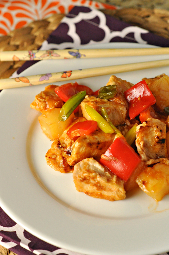 Lightened Up Sweet & Sour Chicken ~ Ready in 20 minutes, this lightened up version spares you the calories and sodium without sparing the taste! ~ The Way to His Heart #CLBlogger #CookingLight #Quickmeals