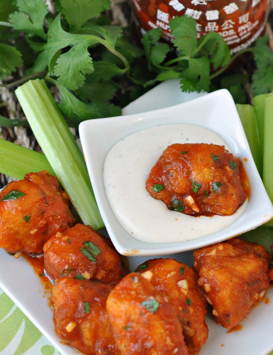 Sriracha Boneless Wings ~ These extra hot and spicy wings are given a fresh zest with lime and cilantro ~ The Way to His Heart #gamedayfood #appetizers #wings #thewaytohisheart #sriracha