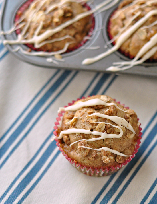 Apple Streusel Muffins with Maple Drizzle ~ Flavor packed, healthy and everything you expect in the perfect muffin ~ The Way to His Heart