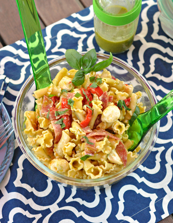 Pasta Salad with Basil Dressing ~ A fresh approach to pasta salad that will breathe new light to your summer side dish ~ The Way to His Heart