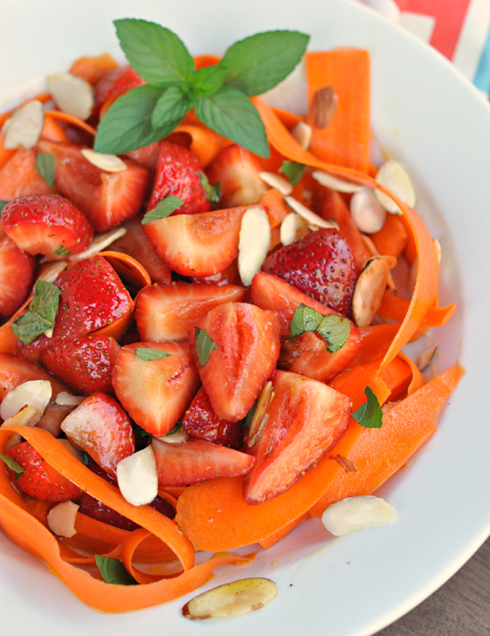 Carrot-Ribbon & Berry Salad ~ Everyone will want to eat their fruit and veggies with this fresh, perfect for summer, side dish! ~ The Way to His Heart