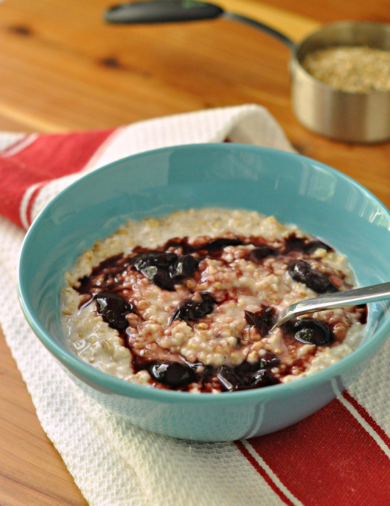 Creamy Steel Cut Oats with Cherries ~ A make ahead breakfast that tastes amazing and is great for you in so many ways ~ The Way to His Heart